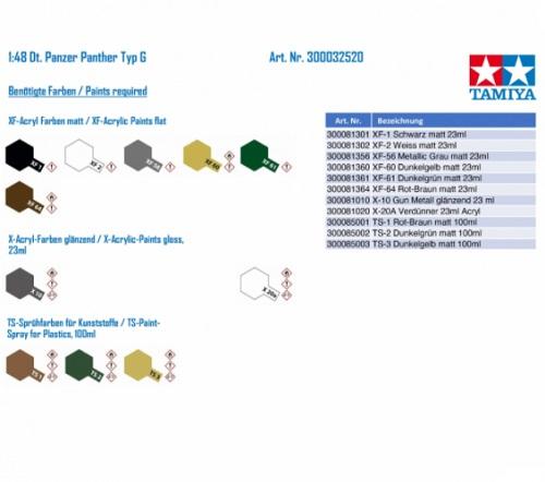 GERMAN PANTHER TYPE G 1/48 32520 TAMIYA