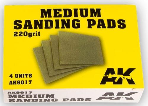 MEDIUM SANDING PADS 220 GRIT. (4) AK9017