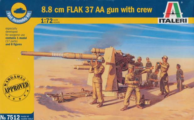 8.8CM. FLACK 37 AA GUN WITH CREW 1/72 7512