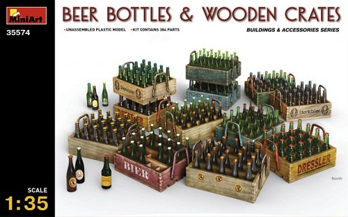 BEER BOTTLES & WOODEN CRATES 1/35 35574 MINIART