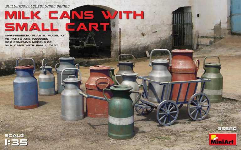 MILK CANS WITH SMALL CART 1/35 35580 MINIART