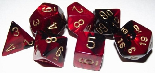 SET 7 DADOS BLACK-RED W/GOLD