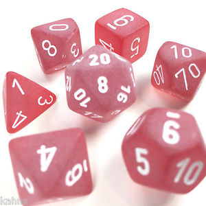 FROSTED RED/WHITE POLYHEDRAL 7-DIE SET