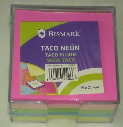 TACO NOTAS CON SOPORTE PVC 400H NEON 75X75MM.