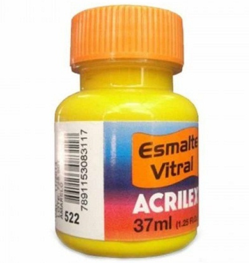ESMALTE VITRAL ACRILEX 37ML. AMARILLO 522