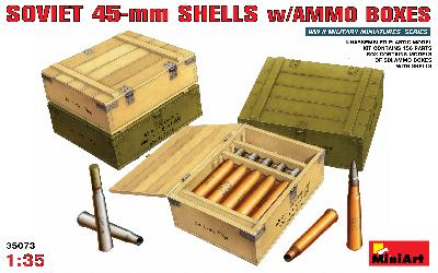 SOVIET 45MM. SHELLS AMMO BOXES 1/35 MINIART 35073