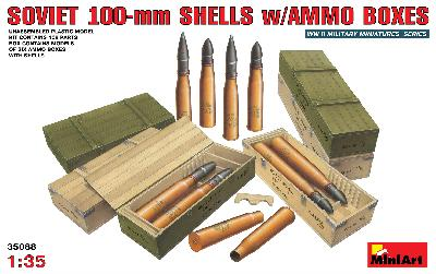 SOVIET 100MM SHELLS W/AMMO BOXES MINIART 35088