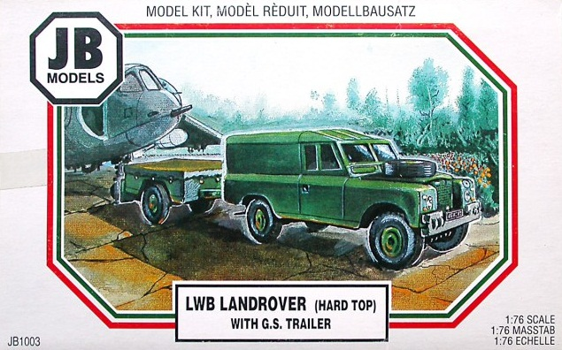 LWB LANDROVER (HARD TOP) WITH G.S. TRAILER 1/76
