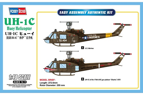 UH-1C HUEY HELICOPTER 1/48 85803 HOBBY BOSS