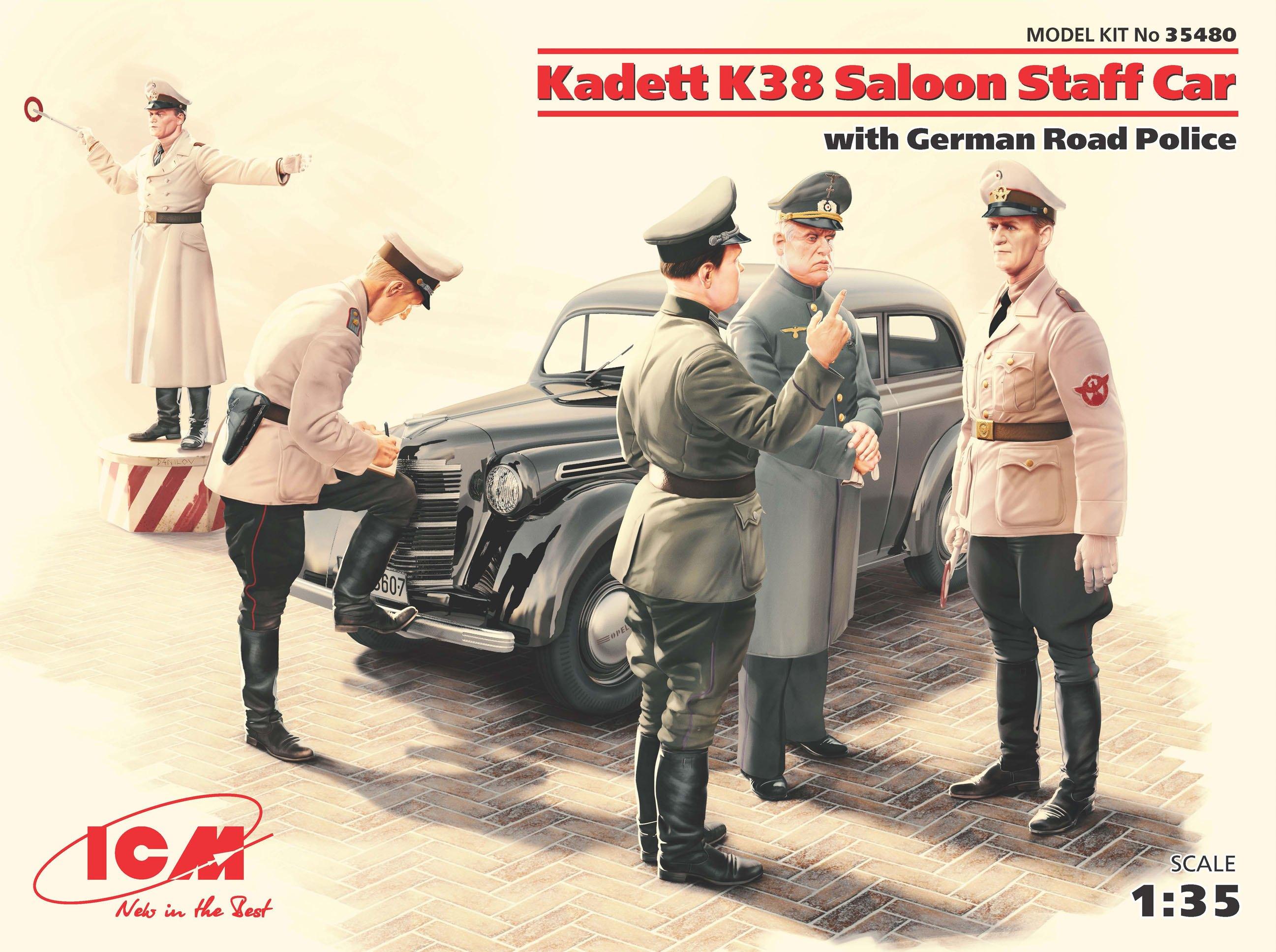 KADETT K38 SALOON STAFF CAR WITH GERMAN ROAD 1/35
