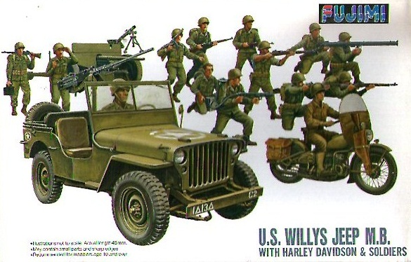 US WILLYS JEEP M.B. WITH HARLEY DAVIDSON 1/76